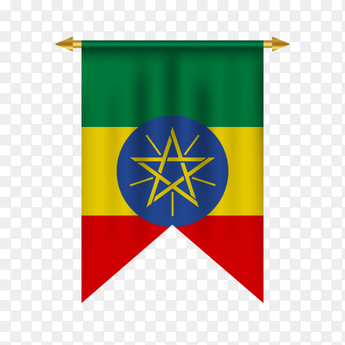 3D realistic pennant with flag of Ethiopia on transparent PNG