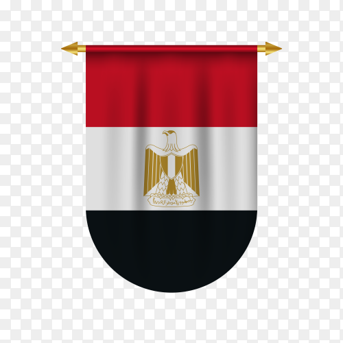 3D realistic pennant with Egypt flag premium vector PNG
