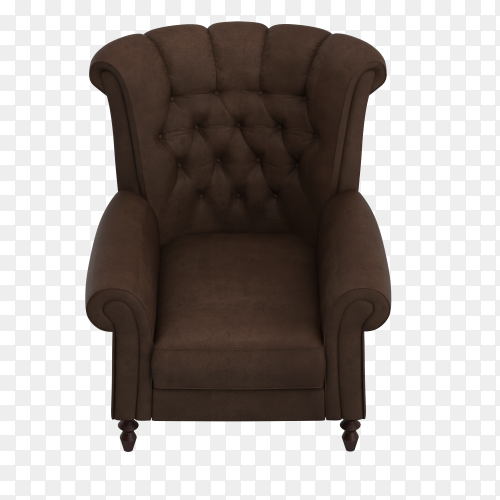 3D render of isometric armchair on transparent background PNG