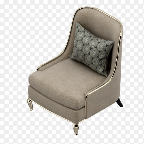 3d render of isometric chair on transparent background PNG