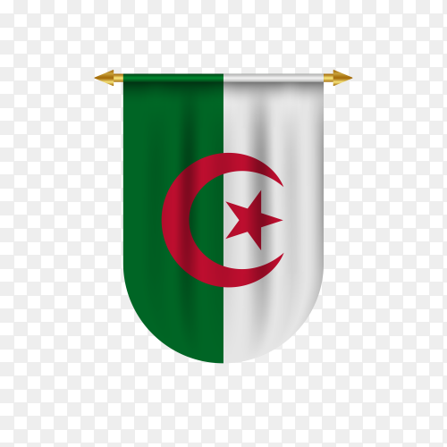 Algeria flag in different shape on transparent background PNG