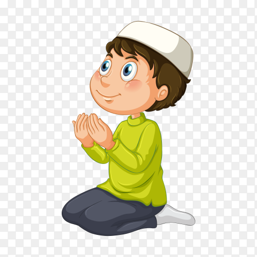 Arab boy praying with traditional clothing on transparent background PNG
