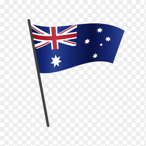 Australian flag waving on a flagpole on transparent background PNG