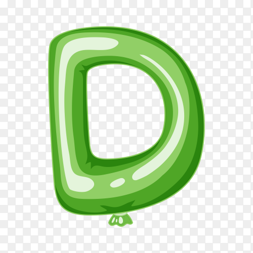 Balloon in the shape of D letter on transparent background PNG