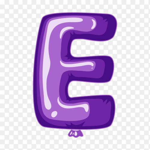 Balloon in the shape of E letter on transparent background PNG