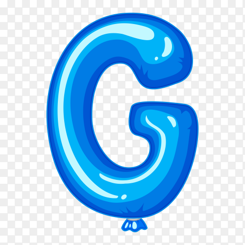 Balloon in the shape of G letter on transparent background PNG