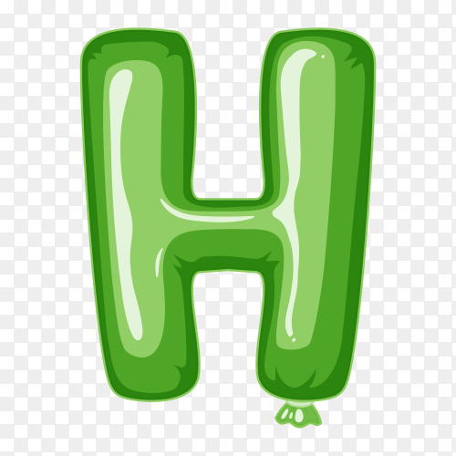 Balloon in the shape of H letter on transparent background PNG