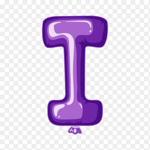 Balloon in the shape of I letter on transparent background PNG