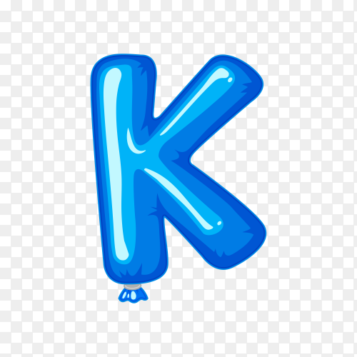 Balloon in the shape of K letter on transparent background PNG