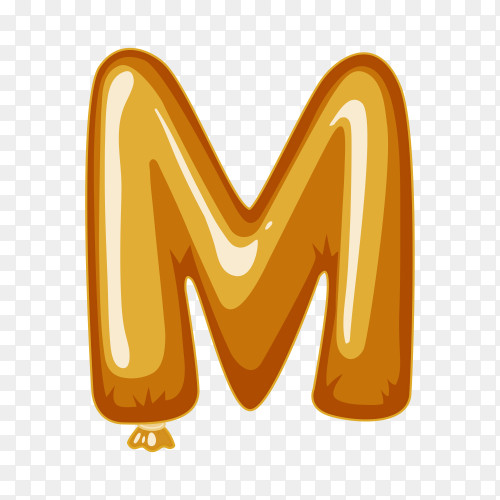 Balloon in the shape of M letter on transparent background PNG