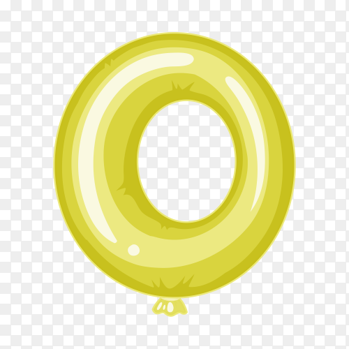 Balloon in the shape of O letter on transparent background PNG
