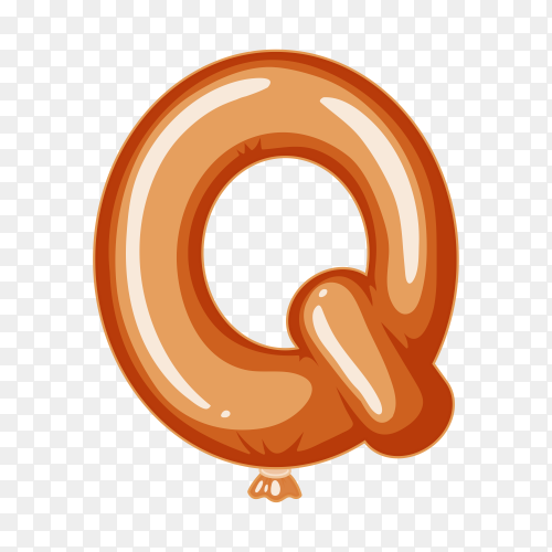 Balloon in the shape of Q letter on transparent background PNG