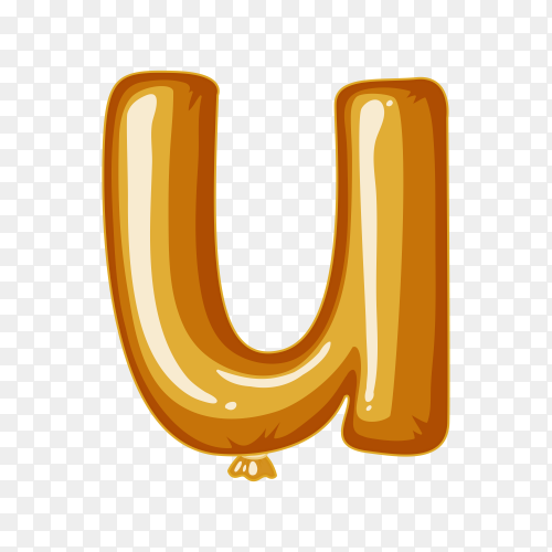 Balloon in the shape of U letter on transparent background PNG