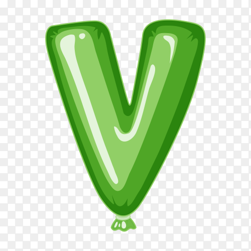 Balloon in the shape of V letter on transparent background PNG