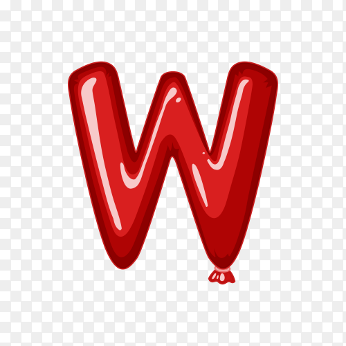 Balloon in the shape of W letter on transparent background PNG