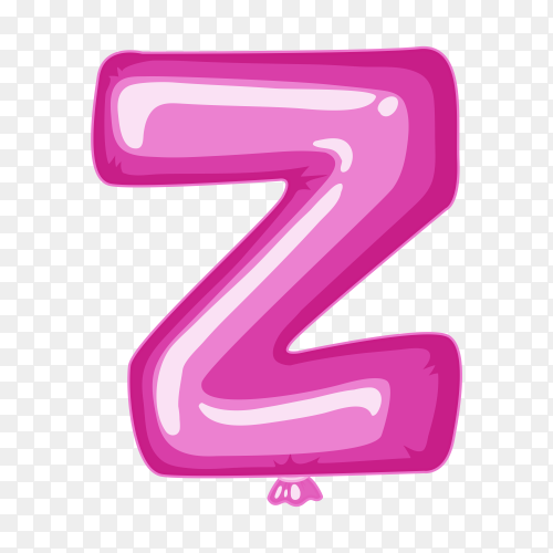 Balloon in the shape of Z letter on transparent background PNG