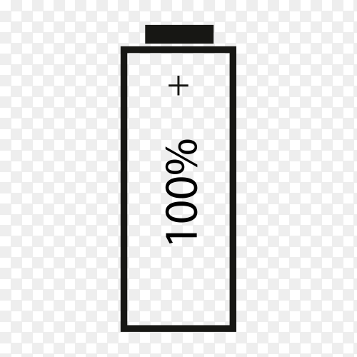 Battery 100% charging on transparent background PNG