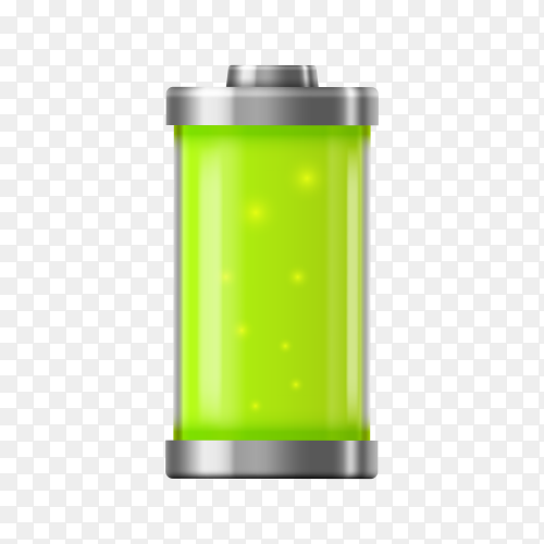 Battery charge icon full power on transparent background PNG