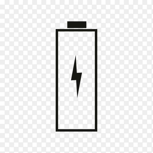 Battery charge icon on transparent PNG