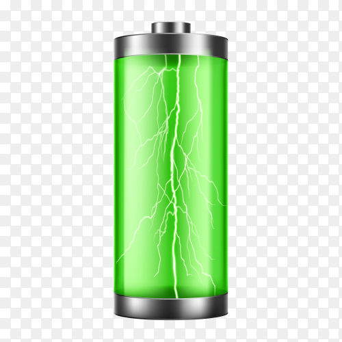Battery charge indicator  with lightning flash on transparent background PNG