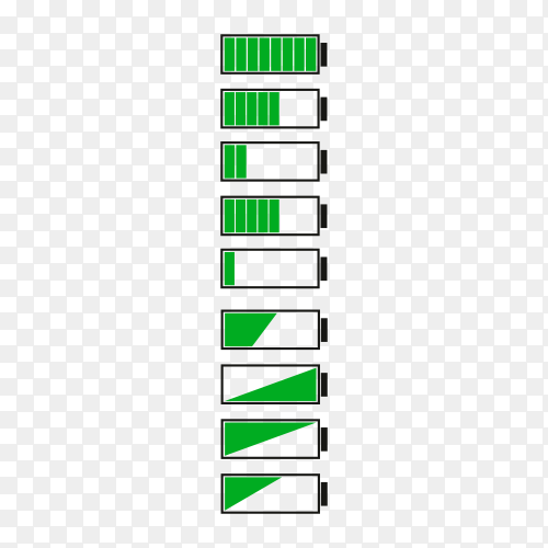 Battery charge indicator icons on transparent background PNG