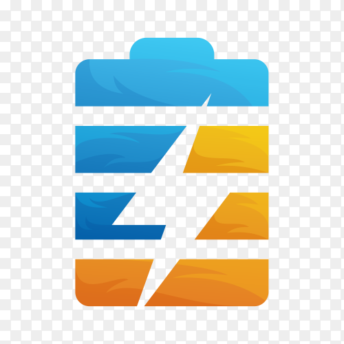 Battery charger logo template on transparent background PNG