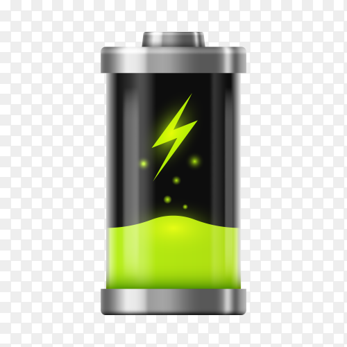Battery concept with icon design on transparent background PNG