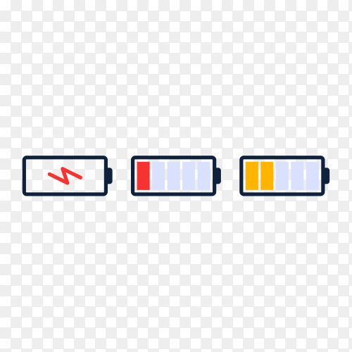Battery energy level icon. charge load, phone battery indicator, smartphone power level premium vector PNG