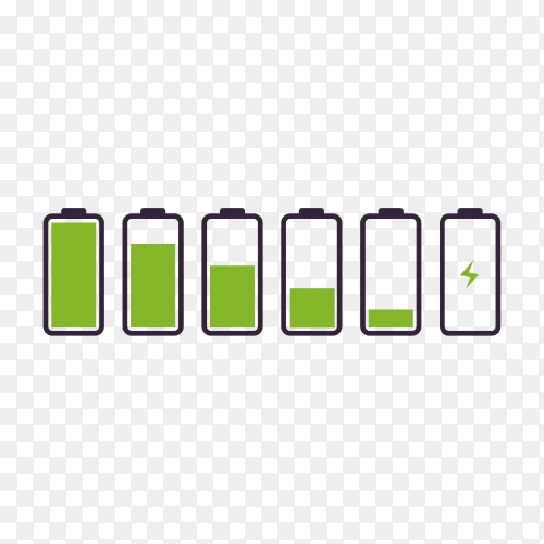 Battery indicator symbol different level of charge isolated premium vector PNG