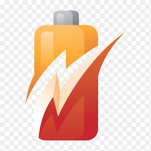 Battery power and flash lightning bolt logo on transparent background PNG