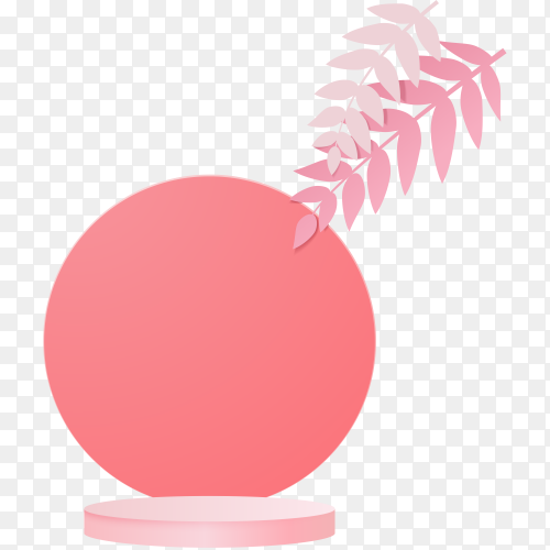 Beautiful cylinder podium in pink on transparent background PNG