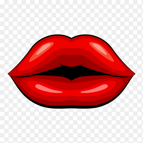 Beautiful lips on transparent background PNG