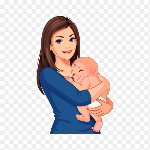 Beautiful mother with her cute little baby on transparent background PNG