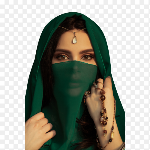 Beautiful woman in traditional costume on transparent background PNG