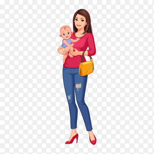 Beautiful young mother and baby premium vector PNG