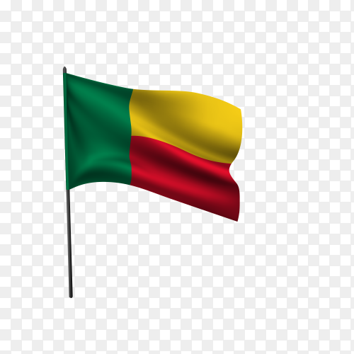 Benin flag waving on a flagpole on transparent background PNG