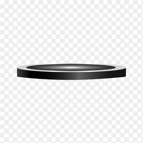 Black Round podium, pedestal or platform on transparent background PNG