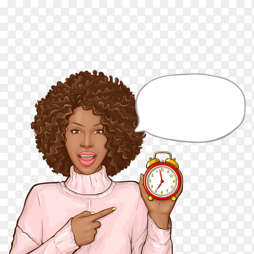 Black woman pointing by finger to alarm clock on transparent background PNG