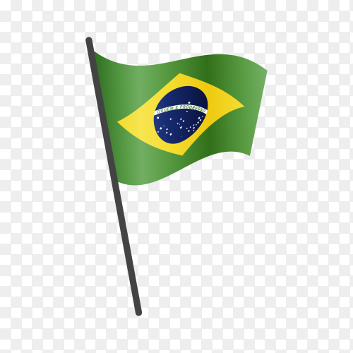 Brazil flag waving on a flagpole on transparent background PNG
