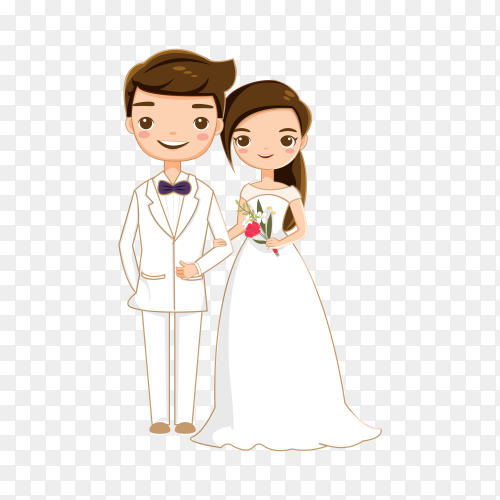 Bride and groom getting married on transparent backgroud PNG
