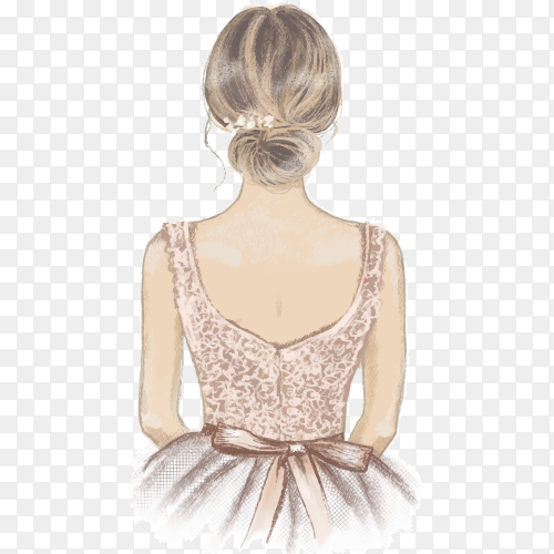 Bridesmaid hand painted illustration on transparent background PNG