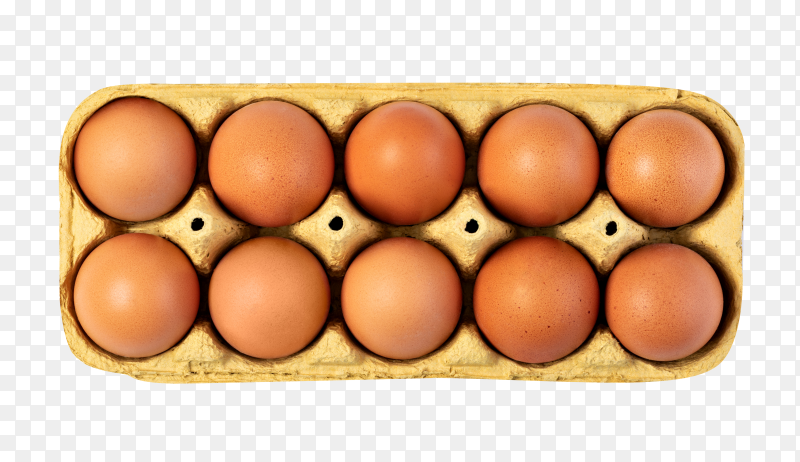Brown chicken eggs in cardboard box on transparent background PNG