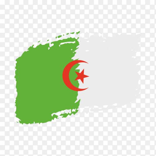 Brush stroke Algeria flag on transparent background PNG