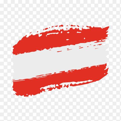 Brush stroke Austria flag on transparent background PNG
