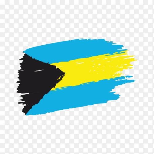 Brush stroke Bahamas flag on transparent background PNG