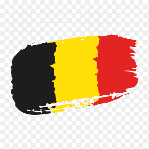 Brush stroke Belgium flag on transparent background PNG