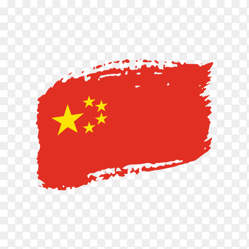 Brush stroke China flag on transparent background PNG