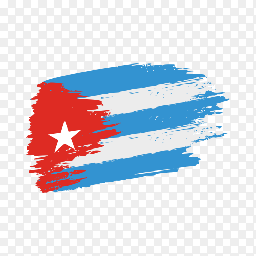 Brush stroke Cuba flag on transparent background PNG