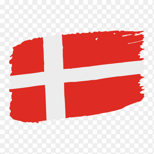 Brush stroke Denmark flag on transparent background PNG