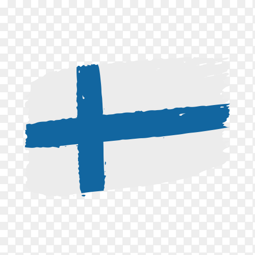 Brush stroke Finland flag on transparent background PNG